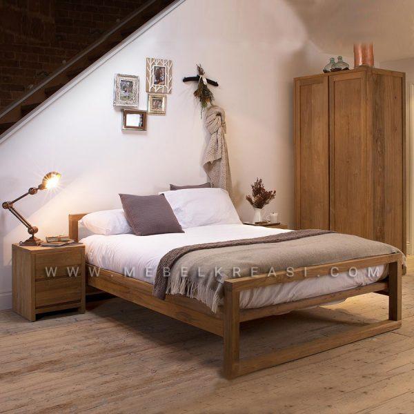 Jual Set Tempat Tidur Mino Minimalis Kayu Jati