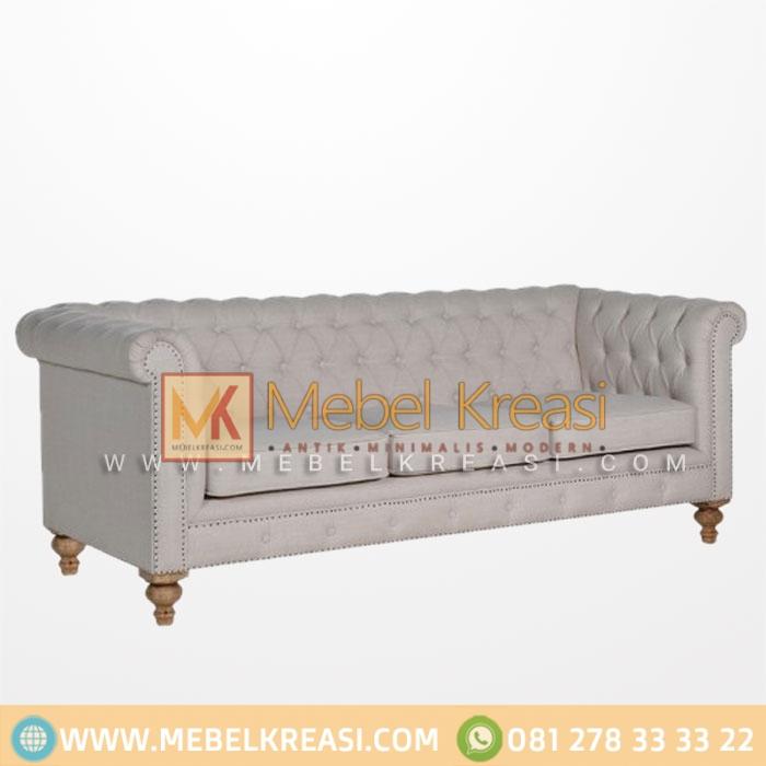 Jual Sofa Klasik Chesterfield Putih 3 Seater