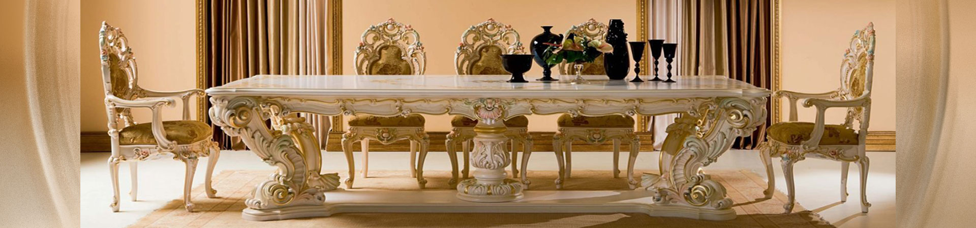 Classic Furniture Design - Antique Carved and Painted Finish